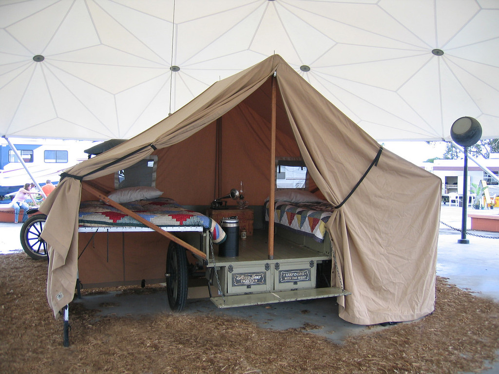 Tampa, Florida RV Show - This is a tent trailer used with an old Model T
