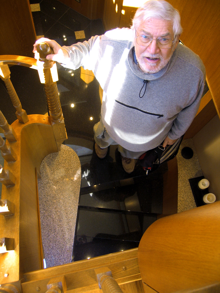 Tampa, Florida RV Show - Mike going down the stairs inside the Star Coach.