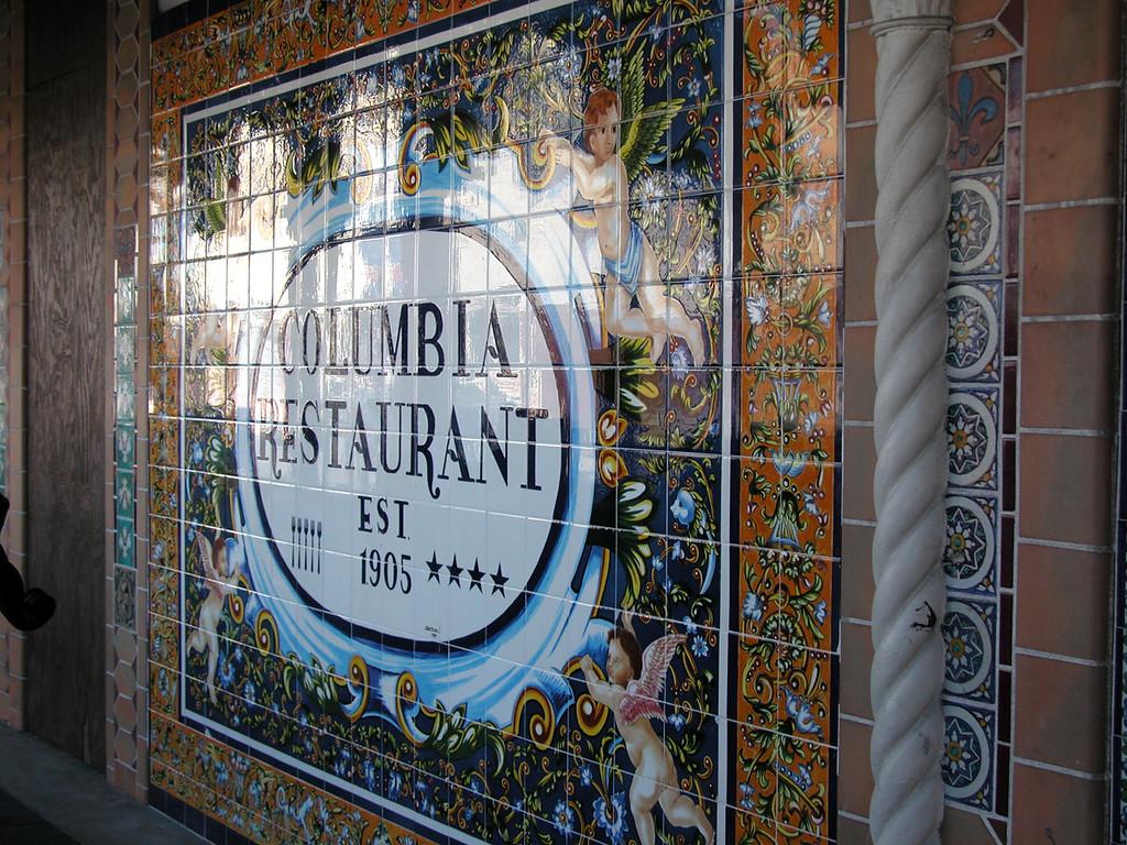 Tile sign outside Columbia Restaurant.