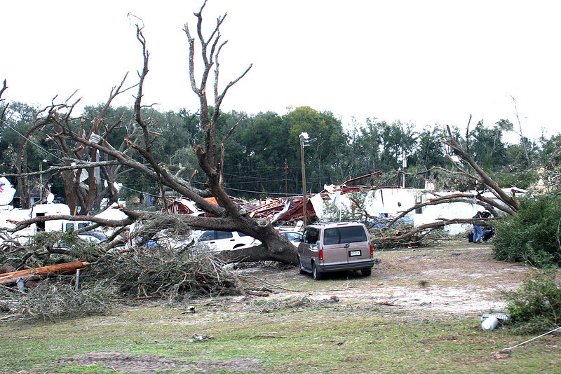 On February 2, 2007 at 3:00a a tornado ripped through The Villages, FL as it cut a swath across Florida on its way to the Atlantic Ocean.  A church on 27/441 just south of The Villages was demolished by the storm.  This church became a symbol of the wrath of the storm.
