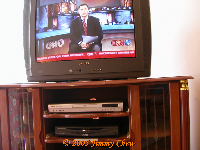 TV set with DVD player inside the unit. Just bring the DVDs.