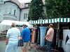 The setup for a street fest on the main street in Gersthofen. Here's something you won't see from a tour bus.  Merchants, some games, food and of course, beer.