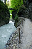 The Partnachklamm is a deep gorge in a canyon right behind the 1932 Olympics ski jumping stadium.