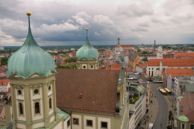 The Rathaus in the foreground, one of the larger Catholic churches in the distance.