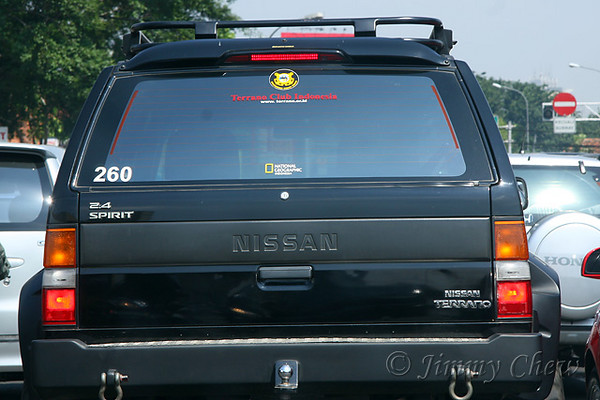 "<font color=""yellow"">Terrano Club Indonesia (<a href=""http://www.terrano.or.id"" target=""_blank"">www.terrano.or.id</a>). On the bottom, the sticker says ""National Geographic Indonesia.</font><br>"