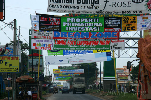 """<font color=""""yellow"""">Road banners in Cibubur.</font><br>"""