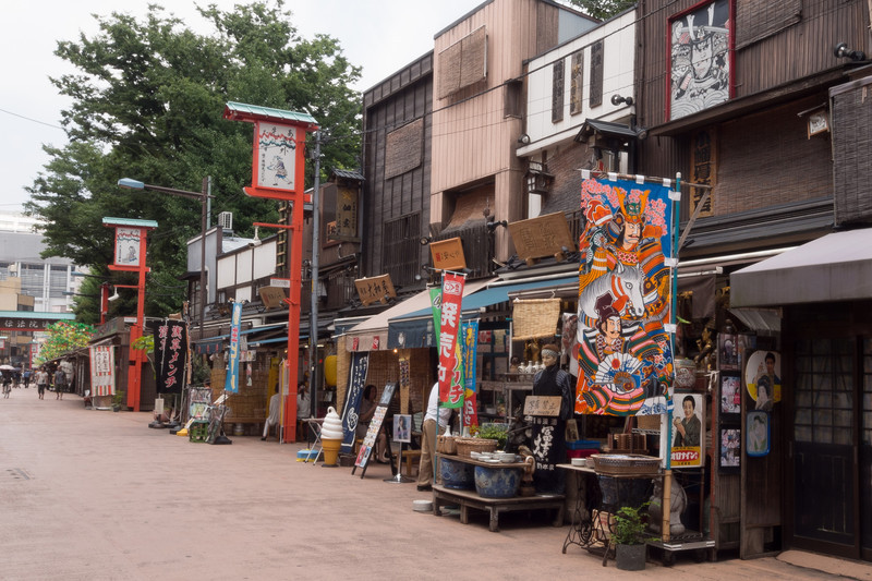 A side street off the center of the Nakamise shopping arcade.