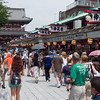 Nakamise shopping arcade leading to the temple extends from the gate.