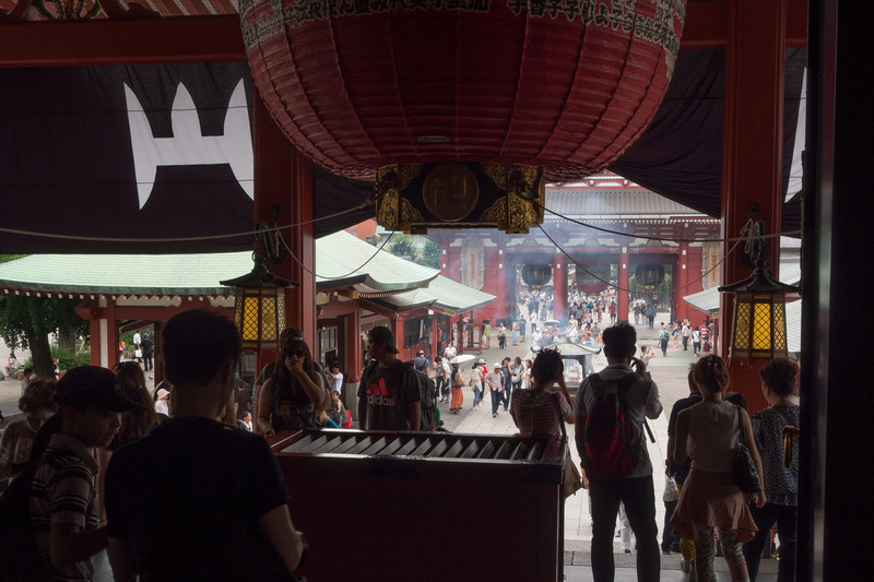 From the Interior of the Sensoji Temple looking south to the Hozomon gate. The Nakamise shopping arcade is beyond the gate.