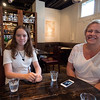 Bianca and Mariel in an Italian restaurant.