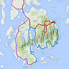 Next leg was from Bar Harbor, through Acadia Nat'l Park to Sea Wall, south of Southwest Harbor (the blue line).