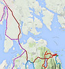 Ellsworth to Bar Harbor. The dark red line.