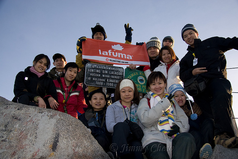Lafuma banner at Low's Peak - an achievement for our group of 12 - we all made it to the top. Photo taken by guide Jemin using my camera.