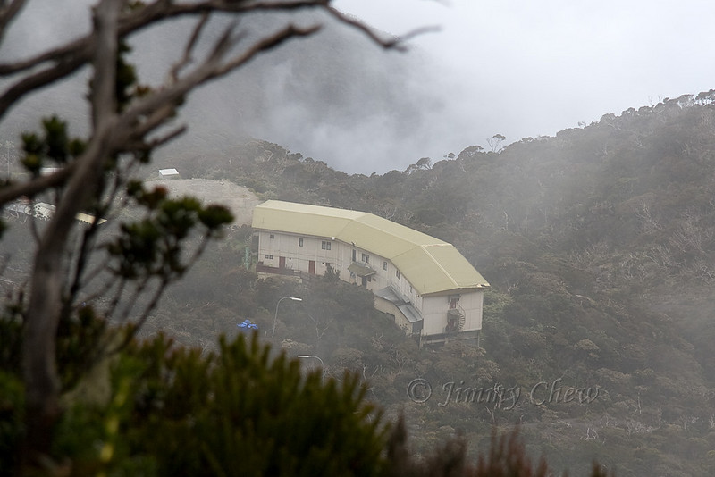 Laban Rata hut from a few hundred metres away.