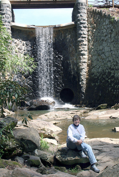 Susan at Bass Pond waterfall