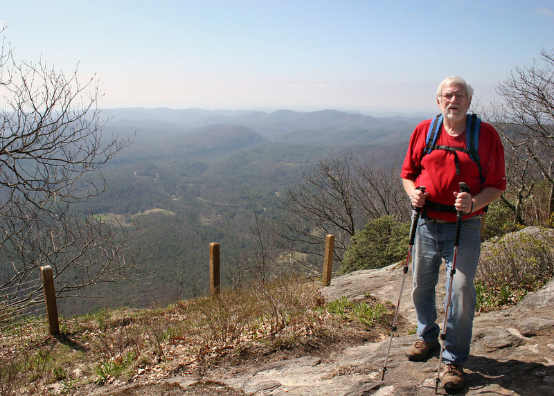 We are almost there.  Mike along the trail that skirts the edge of the mountain.