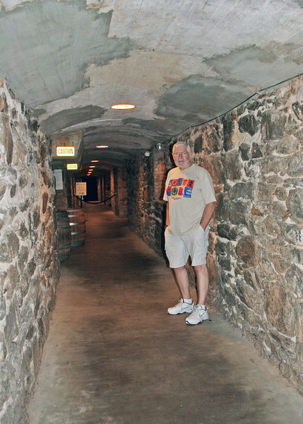 Mike in wine cellar