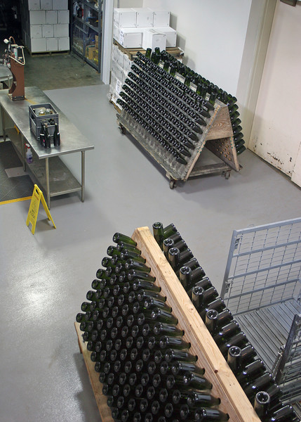 Champagne bottling at the winery