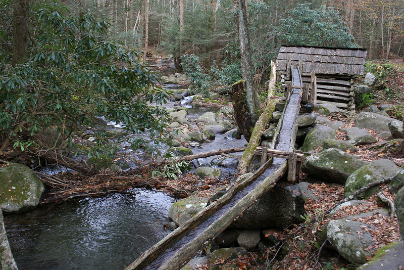 Wooden flume along nature trail at Ogle farm