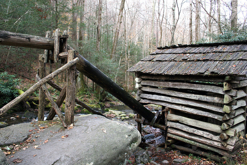 Ogle Grist Mill with wooden flume feeding water to it