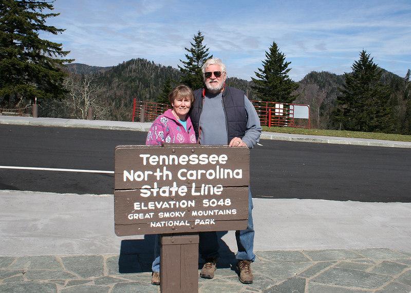 Mike and Susan at the Tennessee/North Carolina border