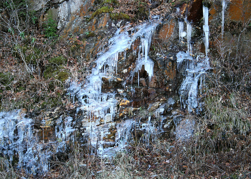 Ice on our drive through the Smokey Mountains