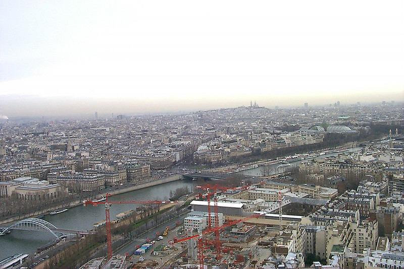 The Seine and Paris from the top of the Eiffel Tower