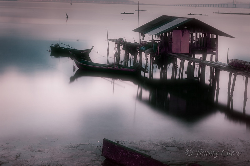 Fishing jetty near Penang Bridge.