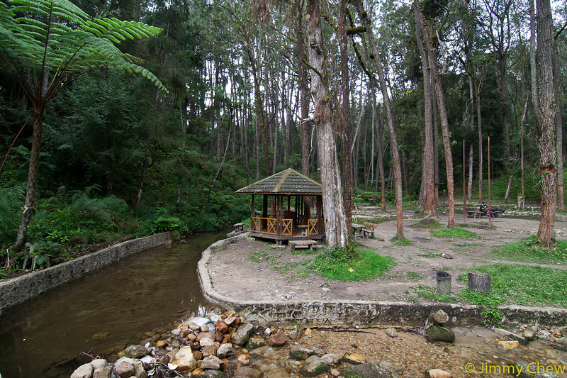 Lower camp site by the stream. Tranquility is experienced at this gazebo.