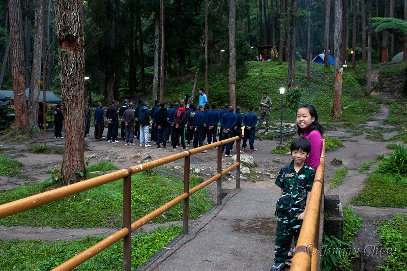 Reserved army trainees took up the lower camp sites.