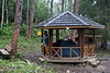 A small tent can be erected inside this larger gazebo; and much warmer than the cement blocks out there.