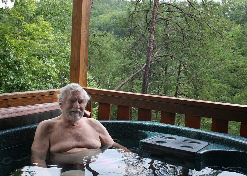 We stayed home and enjoyed the hot tub, here is Mike