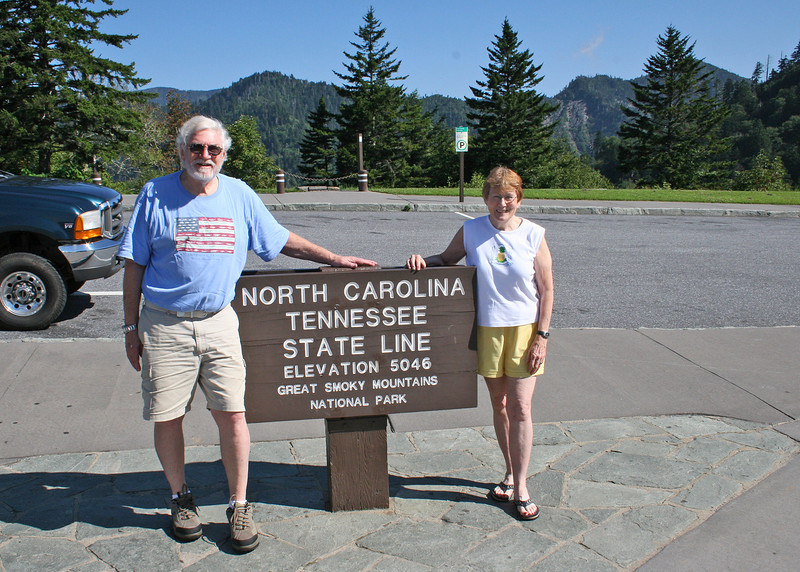 Mike and Susan at the Tennessee/North Carolina boarder