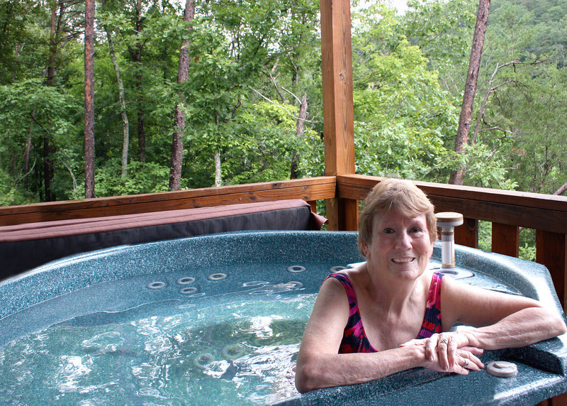 We stayed home and enjoyed the hot tub, here is Susan