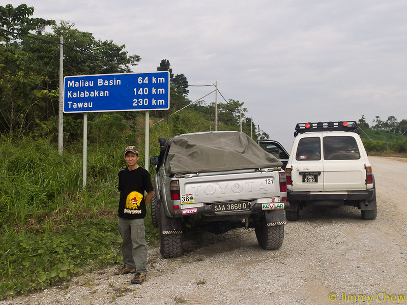 The first signboard shortly after entering the gravel road from tarmac. Still more driving to go.