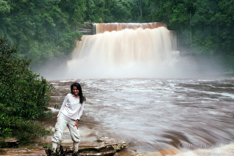 Janelle with Maliau Falls (Tier 5) as backdrop.