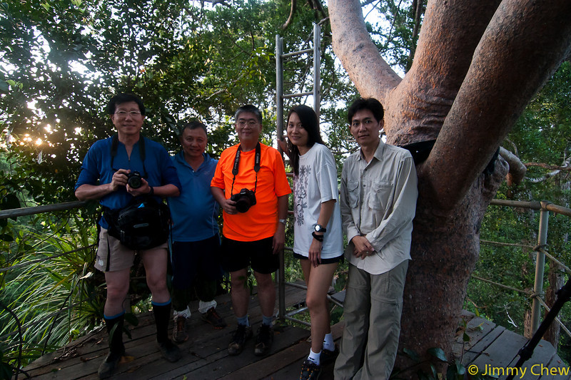 Group photo (those who went up that evening) at observation platform at Nepenthes Camp.