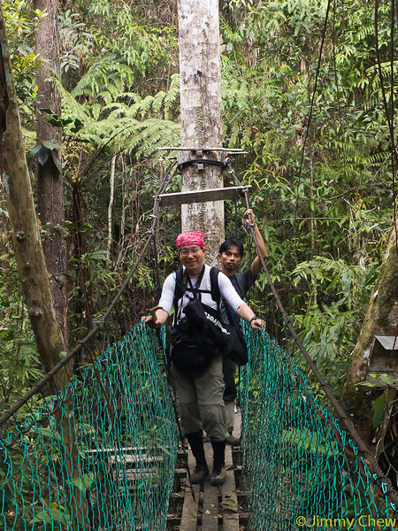 Suspension bridge at Nepenthes Camp.<br /> <br /> Kaynis and Addy the guide/ranger.
