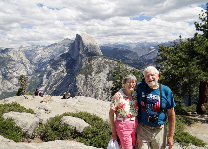 Susan and Mike at Glacier Point with Half Dome in the background