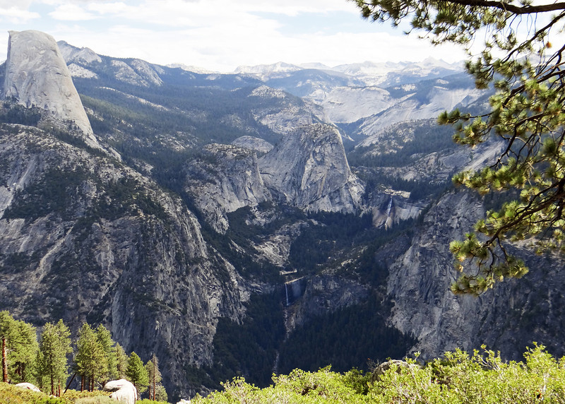 Half Dome with Vernal Falls below it and to the left and Nevada Falls just to the right as seen  from Glacier Point