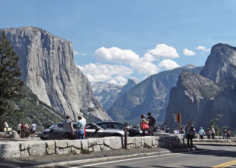 As you head into the valley you go through Wowona Tunnel and just as you come out of the tunnel there is a view area where you can get a great view of El Capitan, Half Dome, Bridal Veil Falls and the mountains around.