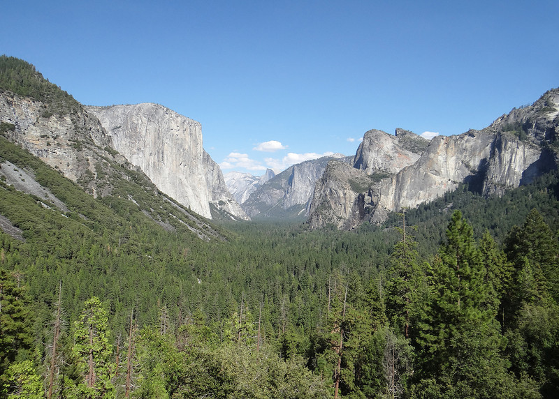 View of El Capitan, Half Dome and Cathedral Rocks from the tunnel view area