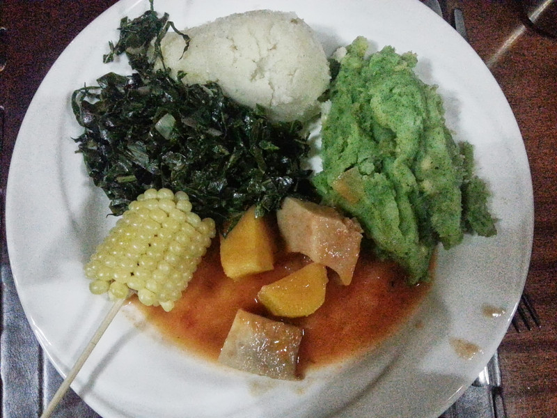 A true Kenyan meal cooked for us by the chef at the guesthouse.