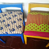 beautiful covered chairs with fabric from the masaai market