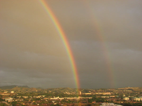 the first of many rainbows- in Boquete, Panama- the coffee region of the country.