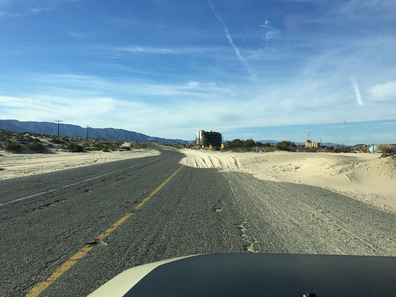 Hwy 5, heading south out of San Felipe.  This was cleaned up on our return trip north.