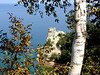 """Another view of Miner's Castle, through the trees along a path that eventually takes you right down to the """"castle""""."""