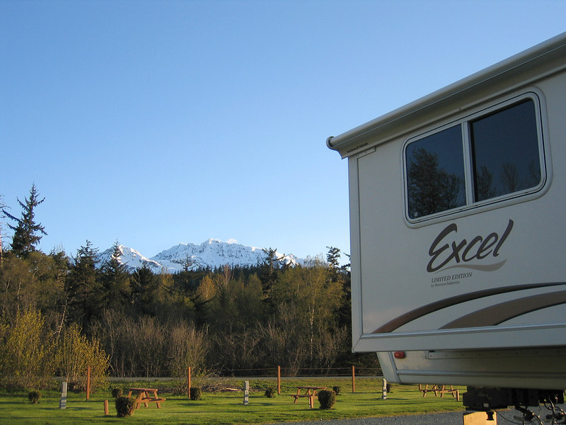 Our 5th wheel and the mountains