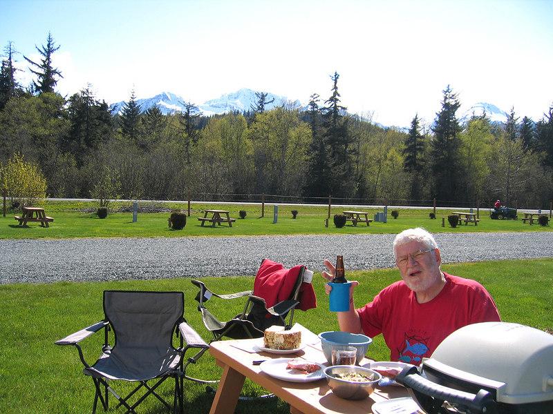 Mike having dinner at RV park