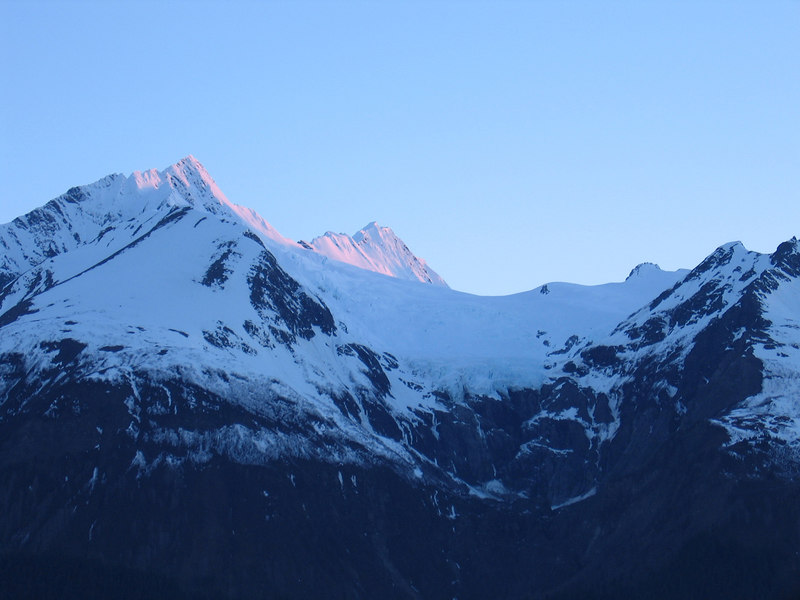Beautiful pink tinged mountain tops
